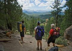 photo, picture, Mammoth Sierra, Sierra Nevada, Eastern Sierra, Clark Canyon, climbers, clouds, forest, Jeffrey pines