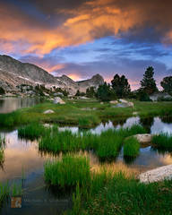 sunrise, clouds, High Sierra, Yosemite National Park, alpine, lake, basin,