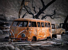 drivers wanted, Panamint Valley, California, burned, rusted, Volkswagen, bus desert, canyon, Death Valley