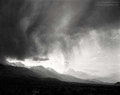black and white, fine art photograph, fine art print, photo, picture, Owens Valley, thunderstorm, cumulus, virga, Sierra Nevada, clouds