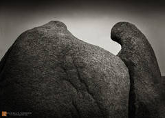 photo,picture,b/w,black and white,b&w,robe,hooded,figure,shaman,ghost,stone,quartz monzonite,boulder,formation,rock,metaphor,resemblance,spirit,Joshua Tree National Park,Jumbo Rock,b&w