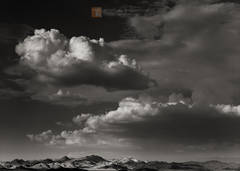 Dissipating, summer, monsoon, clouds, Cady Mountains, Mojave Desert, California