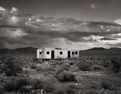 abandoned, shack, Mojave Desert, thunderstorm, cumulus, California