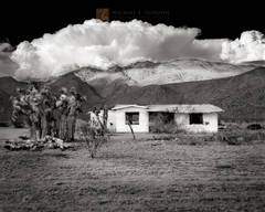 American Dream, abandoned house, Mojave Desert, Joshua Trees, monsoon clouds, cumulus, mountains, black and white, fine art photograph, fine art print, photo, picture
