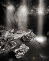 Anza-Borrego, Sonoran Desert, waterfall, cave, grotto, ghosts, black and white, fine art photograph, fine art print, photo, picture
