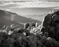 Fairview Valley, morning, haze, atmosphere, clouds, granite, Mojave Desert, black and white, fine art photograph, fine art print, photo, picture