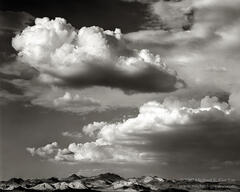 Cady Mountains, Mojave Desert, clouds, cumulus, cumulonimbus, monsoon, black and white, fine art photograph, fine art print, photo, picture