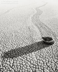 Racetrack, playa, moving rocks, cracked mud, Racetrack Valley, Death Valley, Mojave Desert, black and white, fine art photograph, fine art print, photo, picture