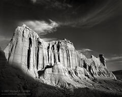 Red Rock Canyon State Park, Mojave Desert, cirrus clouds, geology, formation, castle, black and white, fine art photograph, fine art print, photo, picture