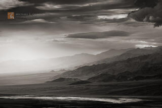 photo, picture, vista, view, panorama, Panamint, mountains, Death Valley, light, clouds, shaft, beam, mystery, storm