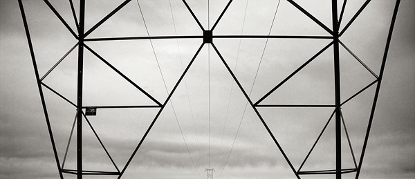 power, Mojave Desert, transmission lines, photo, picture, black and white, California, electrical, photo
