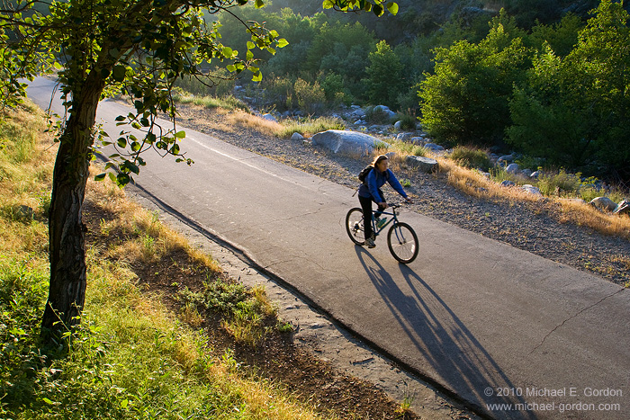 photo, picture, bicycle rider, bicyclist, late afternoon, West Fork National Scenic Bikeway Trail, San Gabriel River, San Gabriel Mountains, Angeles National Forest, California, photo