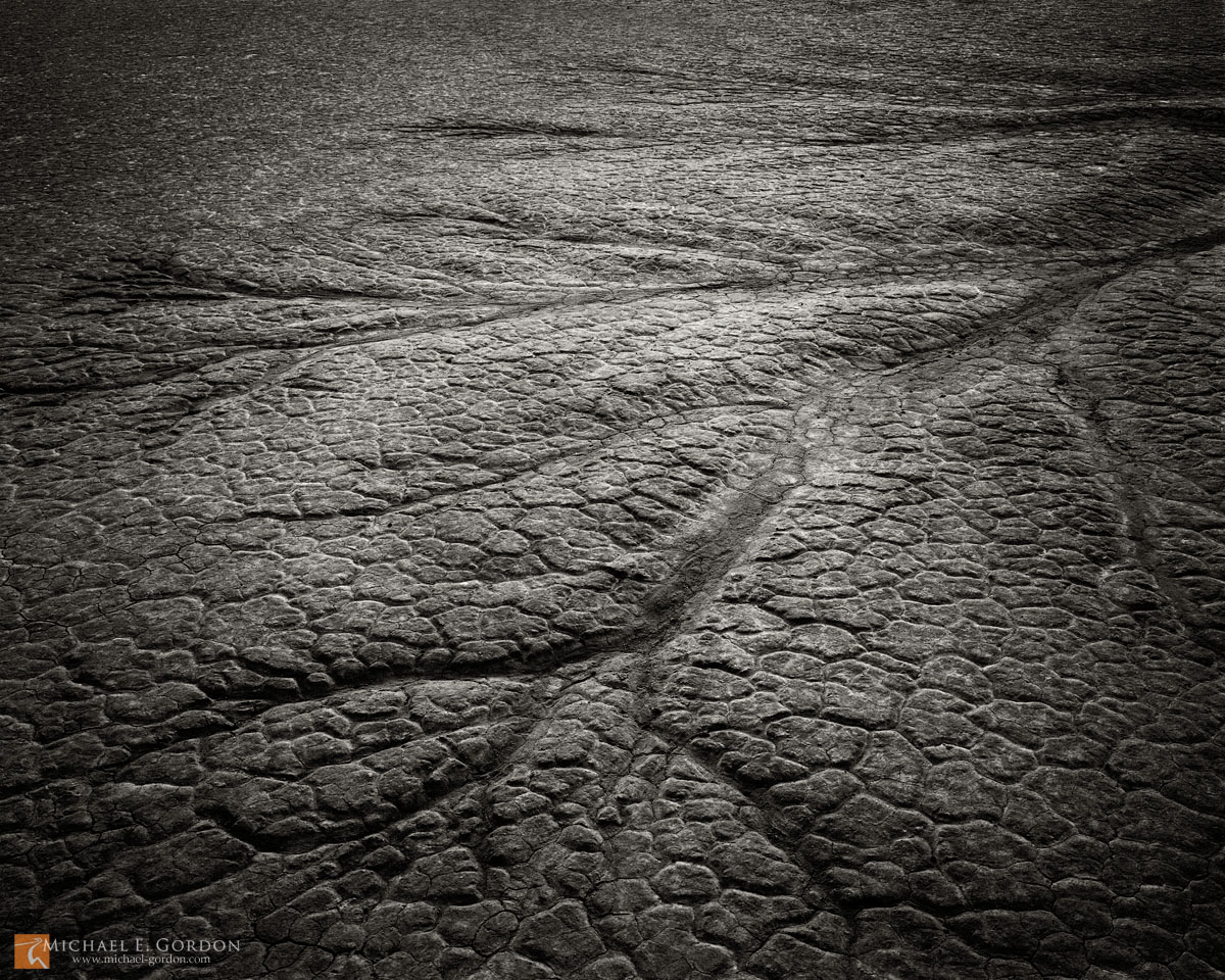 b/w,black and white,b&w,picture,photo,large format,dy,rivulets,marks,impressions,abstract,lakebed,playa, The Racetrack Playa,Death Valley,b&w, photo