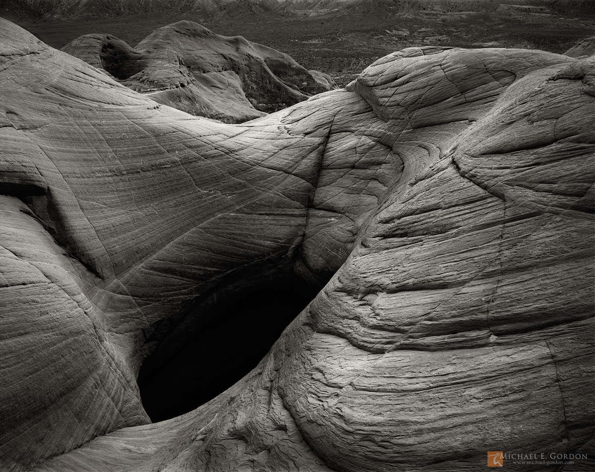b/w,black and white,large format,mysterious,black,deep,fear,pothole,flowing,lines,sandstone,dome,Grand Staircase,Escalante,National Monument,Utah,GSENM, photo