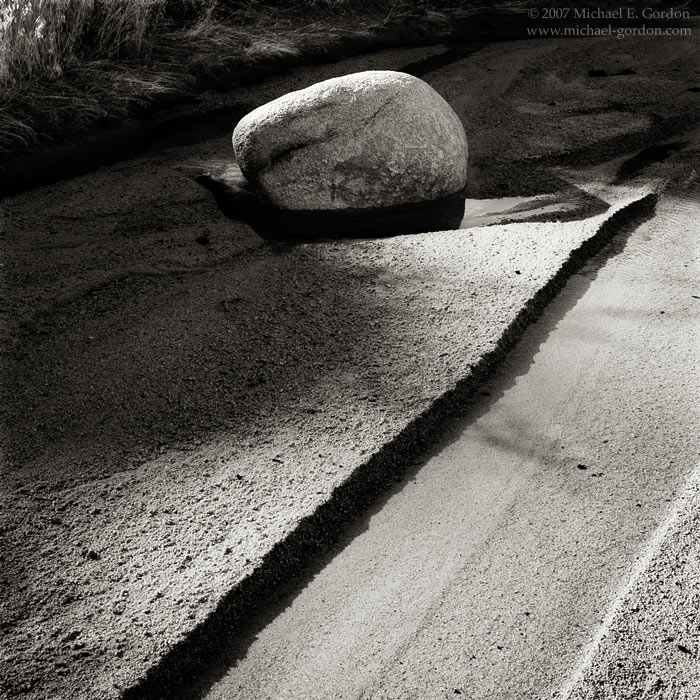 boulder, flowing water, sunlight, shadows, Willow Hole, Joshua Tree, Mojave Desert, black and white, fine art photograph, fine art print, photo, picture, photo