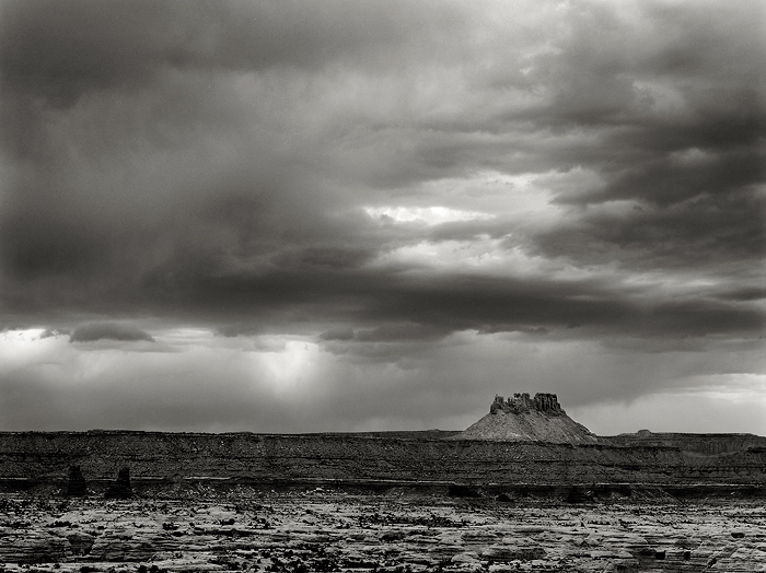 black and white, fine art photograph, fine art print, photo, picture, The Maze, Canyonlands National Park, thunderstorm, clouds, virga, photo
