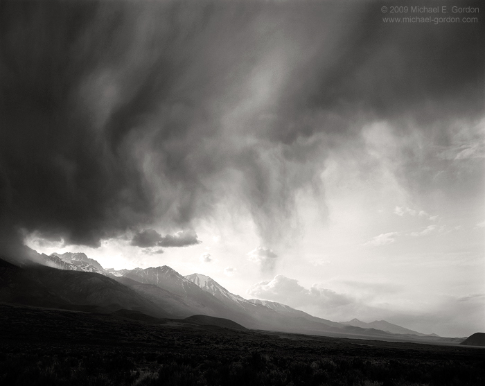 black and white, fine art photograph, fine art print, photo, picture, Owens Valley, thunderstorm, cumulus, virga, Sierra Nevada, clouds, photo