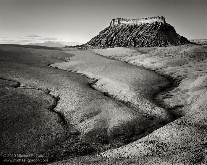 Caineville Badlands, Factory Butte, Henry Mountains, sunrise, Utah, desert, erosion, geology, black and white, color, large format, photo, picture, photo