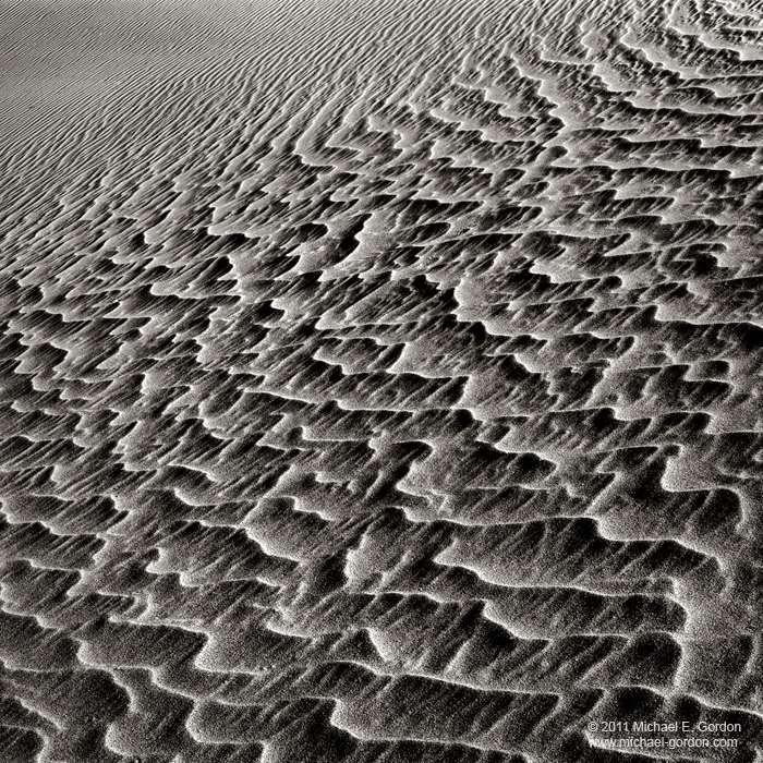 b/w, black and white, photo, picture, large format, texture, wind, lines, pattern, shadows, ripples, sand, Eureka Dunes, Death Valley, photo