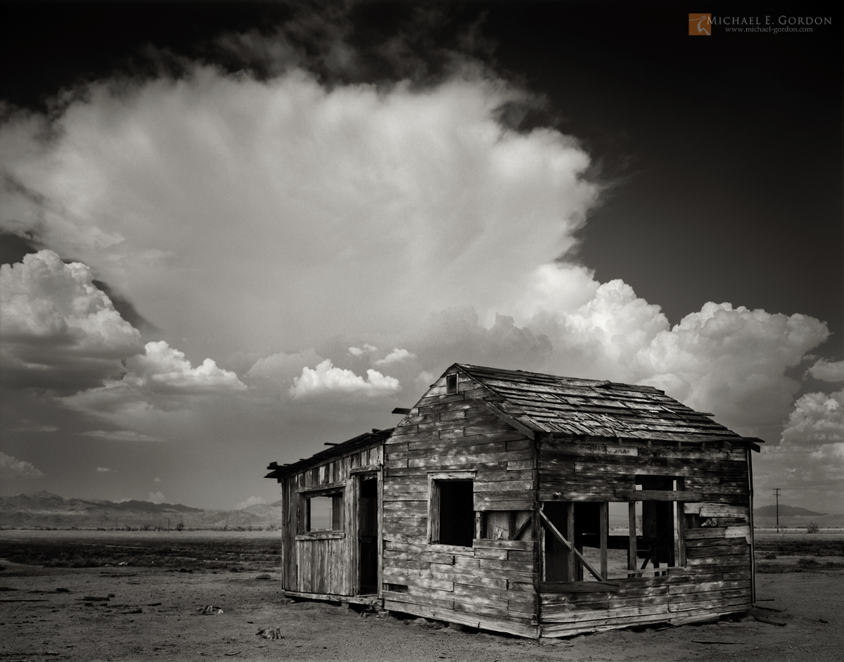 black and white,photo,picture,Mojave Desert,abandoned,historical,dwelling,shack,struture,cloud,monsoon,cumulonimbus,mountains,thunderstorm, photo