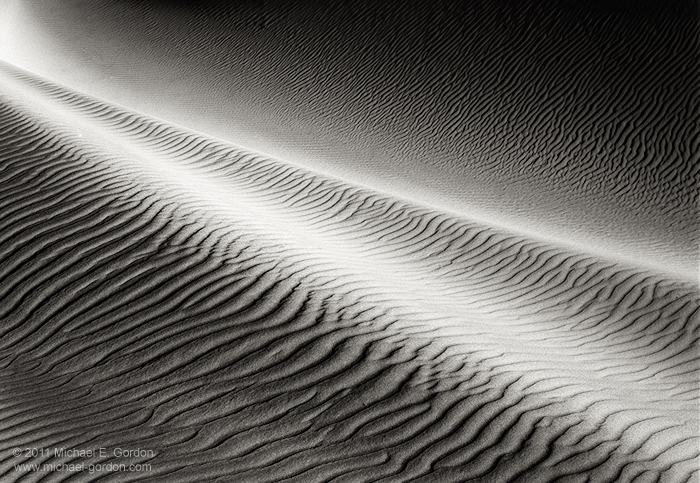 black and white, large format, photo, picture, light, shadows, wind-sculpted, sand, dunes, ripples, patterns, formation, Eureka Dunes, Death Valley, California, photo