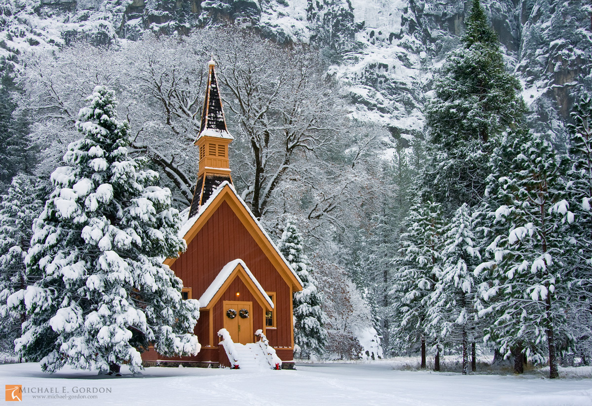 photo,picture,Yosemite,Chapel,church,winter,Christmas, wreath, ribbons,storm,white,snow,wreaths,cliffs,pine,trees,oak,steeple,steps,snow-covered,National Park,California, photo