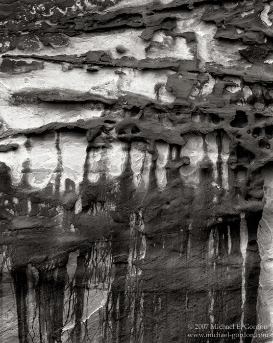 sandstone, geology, tafoni, iron stains, Capitol Reef, Mojave Desert, black and white, fine art photograph, fine art print, photo, picture, photo