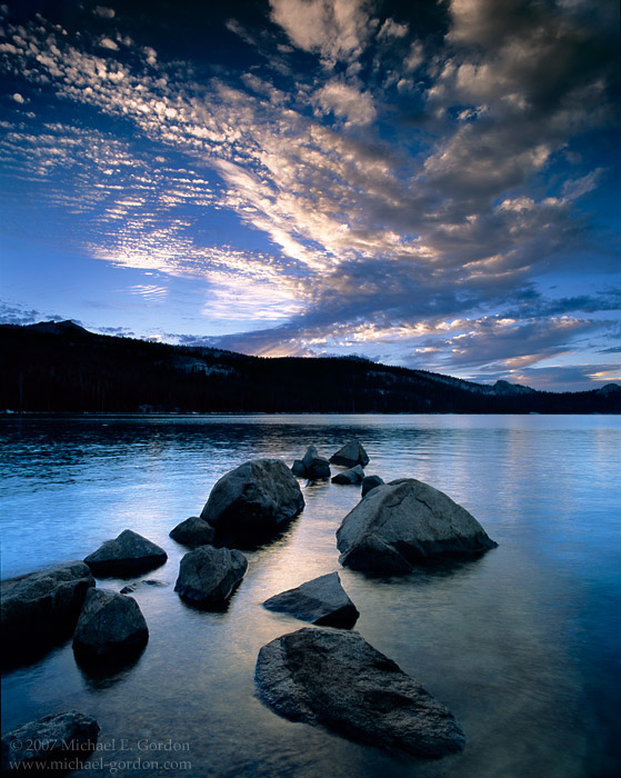 picture, photo, sunset, blue, Courtright Reservoir, High Sierra, clouds, landscape, fine art print, photo