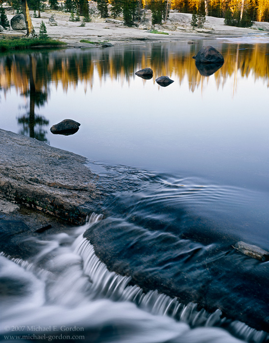 picture, photo, Lyell Fork, Tuolumne River, cascade, sunset, Yosemite National Park, landscape, fine art print, photo