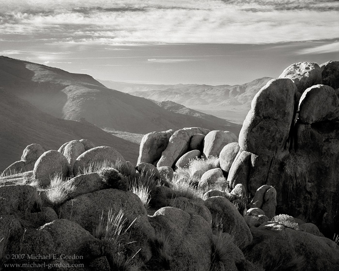 Fairview Valley, morning, haze, atmosphere, clouds, granite, Mojave Desert, black and white, fine art photograph, fine art print, photo, picture, photo