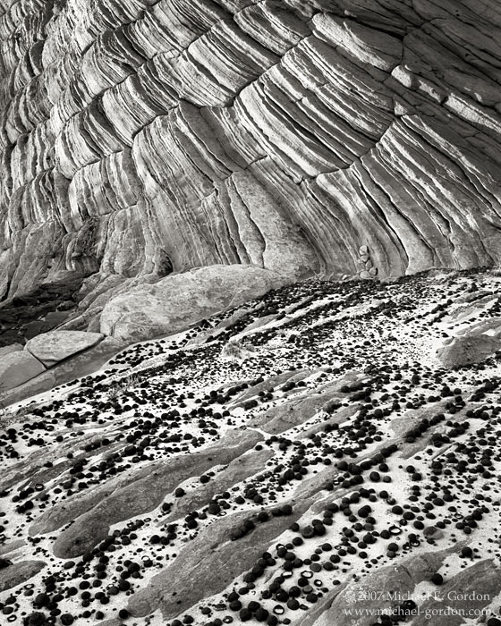 Grand Staircase-Escalante, Moqui, Moki, marble, stone, marbles, sandstone, geology, Great Basin, black and white, fine art photograph, fine art print, photo, picture, photo