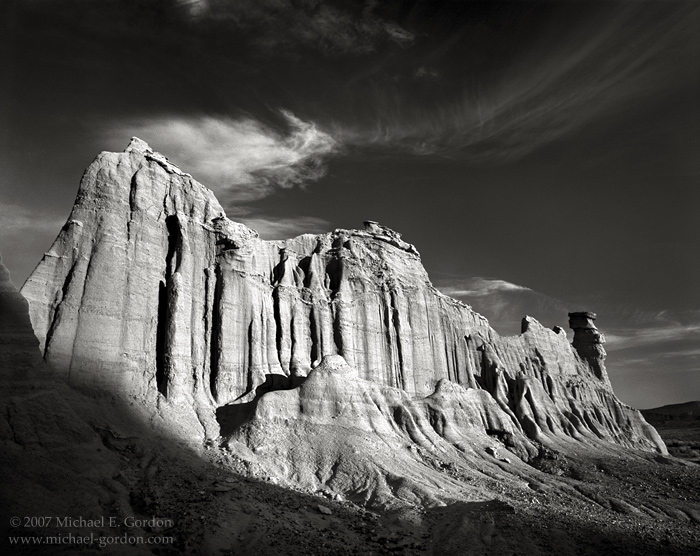 Red Rock Canyon State Park, Mojave Desert, cirrus clouds, geology, formation, castle, black and white, fine art photograph, fine art print, photo, picture, photo