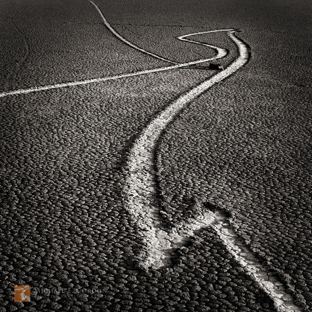 Moving rocks, tracks, trails, mysetrious, phenomenon, Racetrack Playa, Death Valley National Park, California, black and white, large format, photo, picture, photo