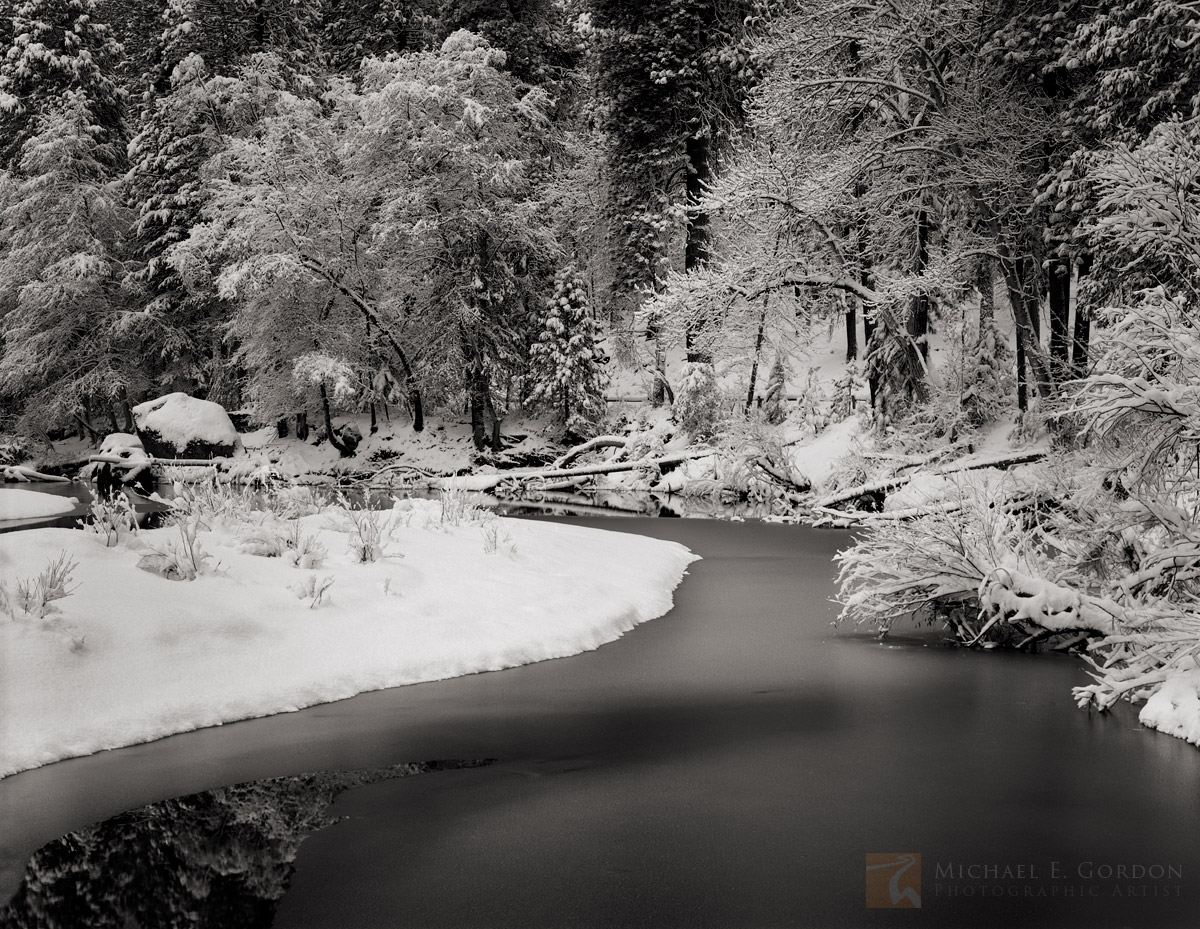 Merced River, Yosemite Valley, Yosemite National Park, snow, trees, frozen, winter, quiet, peaceful, picture, photo, black and white, fine art print, photo