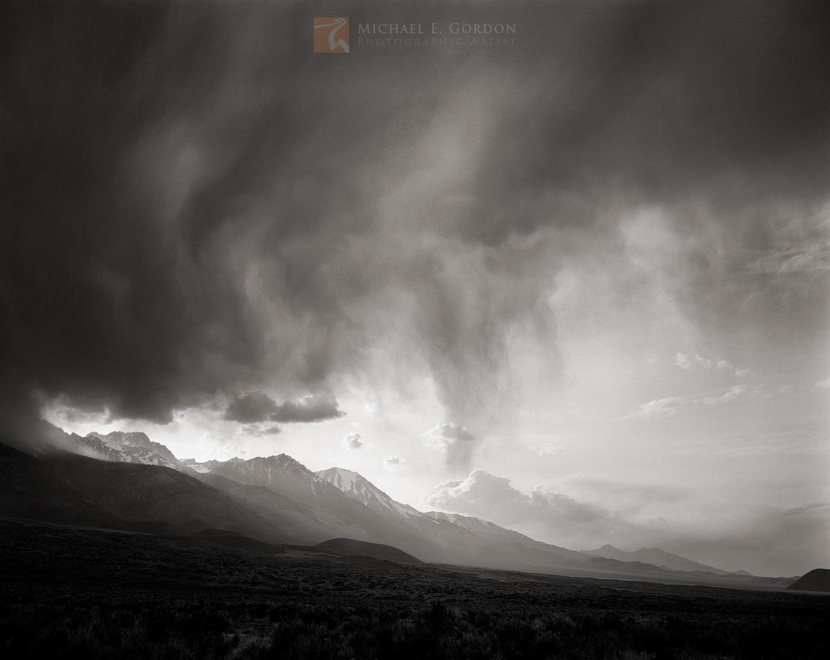 thunderhead, High Sierra, rain, Owens Valley, California, photo