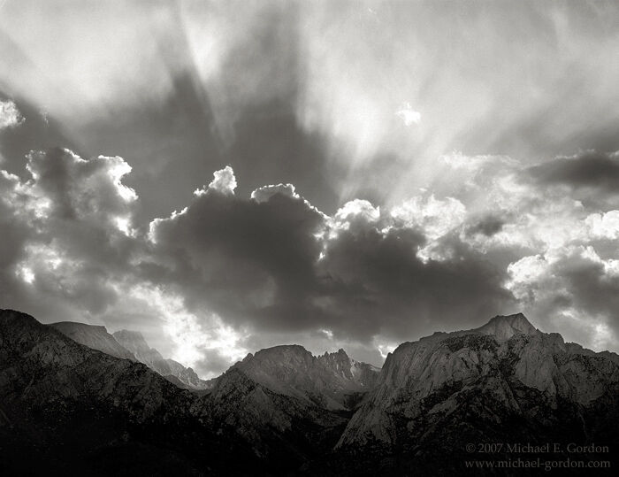 picture, photo, High Sierra, Eastern Sierra, Lone Pine Peak, Mt. Langley, sunbeams, clouds, black and white, fine art print, photo