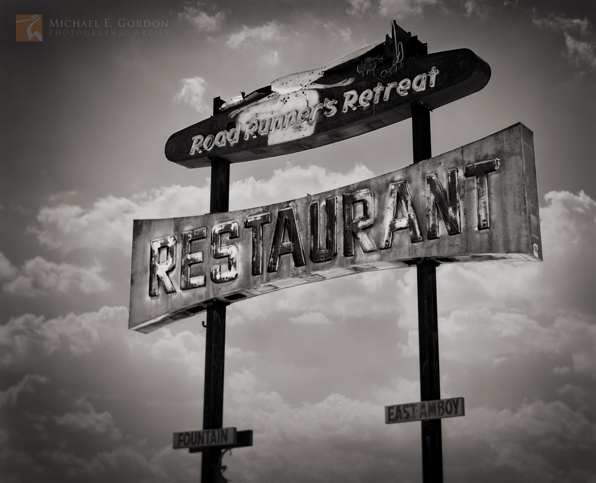 Roadrunner's Retreat, sign, Old, Route 66, Amboy, California, photo