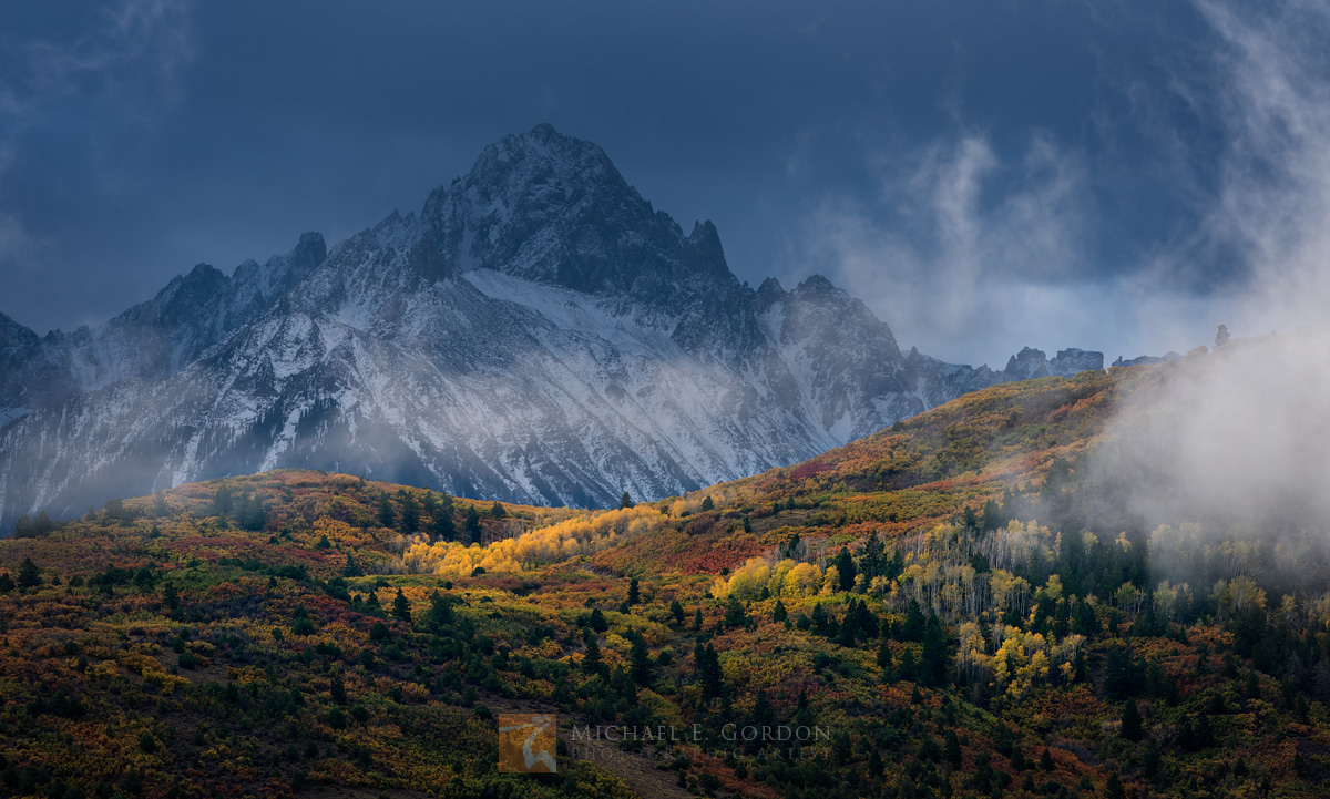 majesty, clouds, spotlight, colorful, autumn, grove, Quaking Aspen, Populus tremuloides, Gambel's Oak, Quercus gambelli, dramatic, snow, Mount Sneffels, San Juan Mountains, Colorado, photo