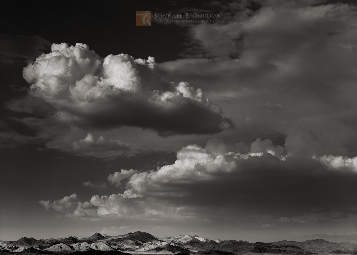 Dissipating, summer, monsoon, clouds, Cady Mountains, Mojave Desert, California, photo