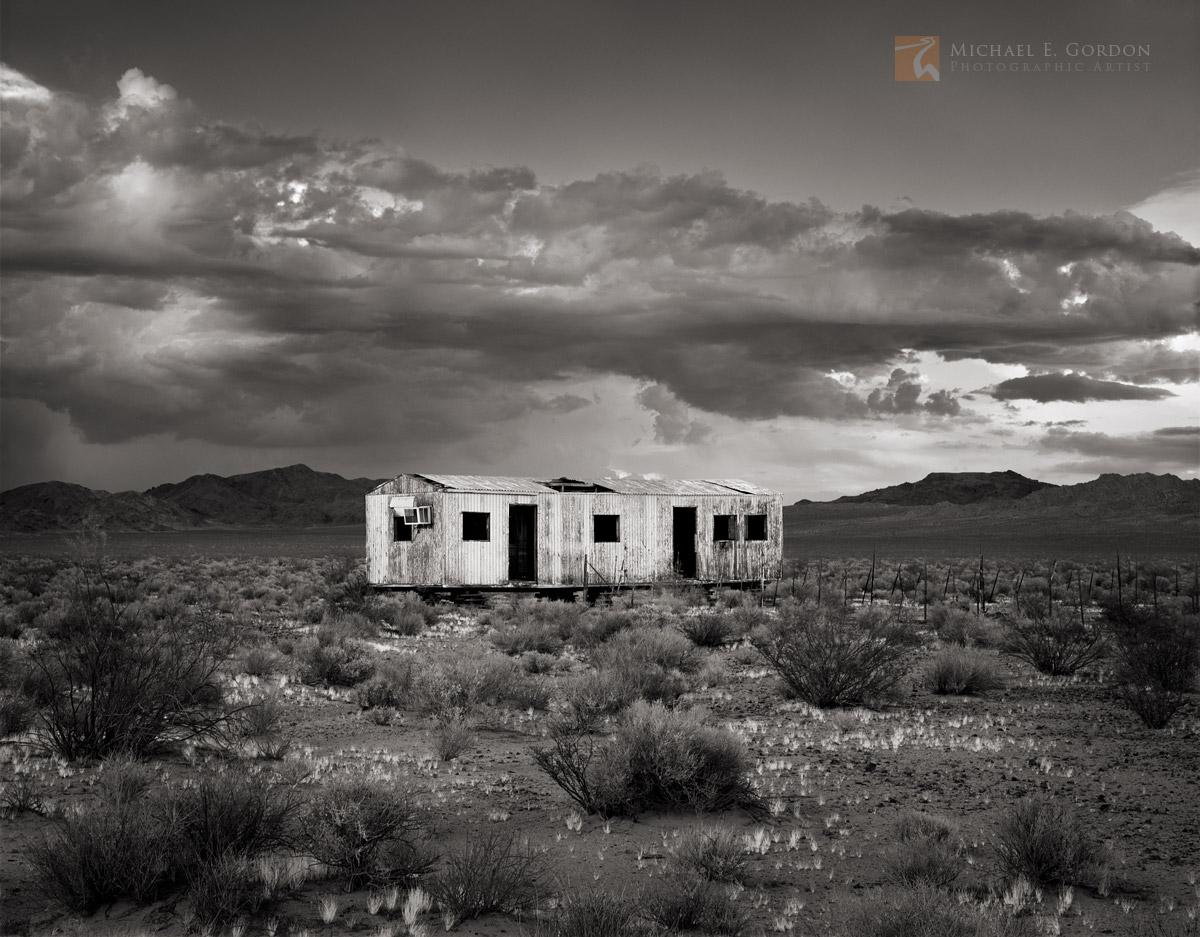 abandoned, shack, Mojave Desert, thunderstorm, cumulus, California, photo