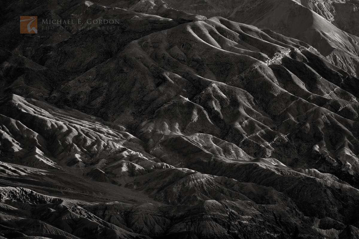 light, long, shadows, creases, canyons, eroded, warp, Death Valley, Black Mountains, photo