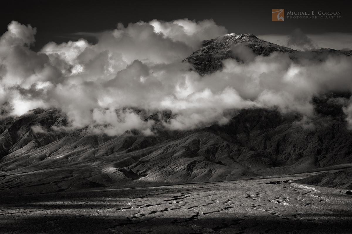 Incredible stormy light and shadow at sunrise over the Last Chance Mountains, Death Valley National Park