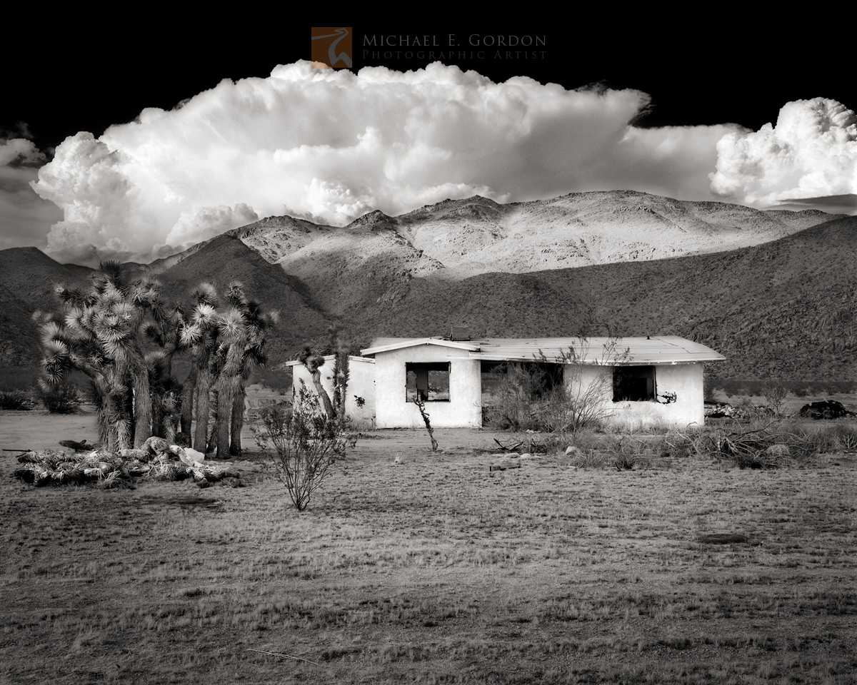 American Dream, abandoned, shack, Mojave Desert, Joshua tree, cloud, cumulonimbus, thunderstorm, California, photo