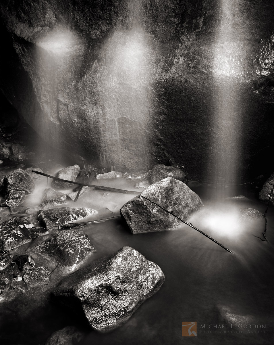 Anza-Borrego, Sonoran Desert, waterfall, cave, grotto, ghosts, black and white, fine art photograph, fine art print, photo, picture, photo