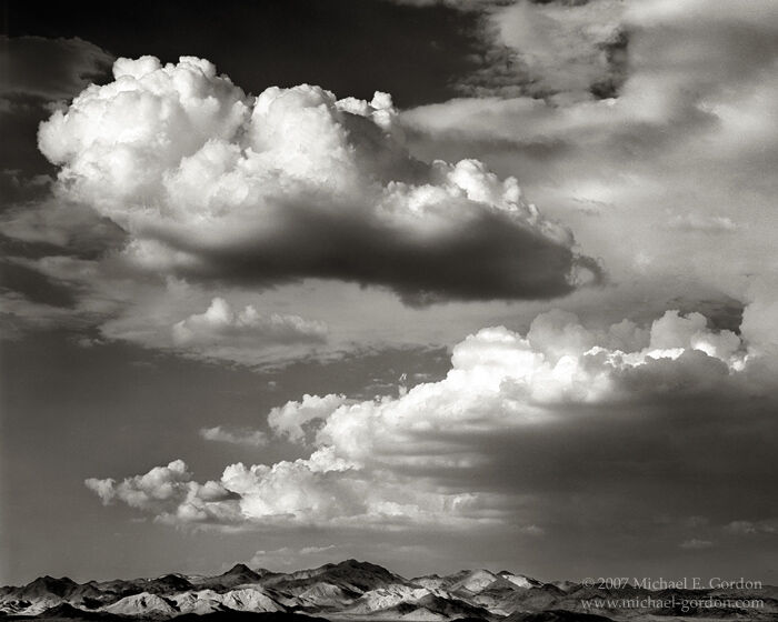 Cady Mountains, Mojave Desert, clouds, cumulus, cumulonimbus, monsoon, black and white, fine art photograph, fine art print, photo, picture, photo