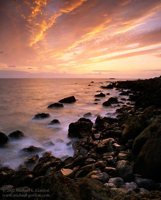 picture, photo, sunset, California coast, Palos Verdes, rocky shoreline, landscape, fine art print, photo