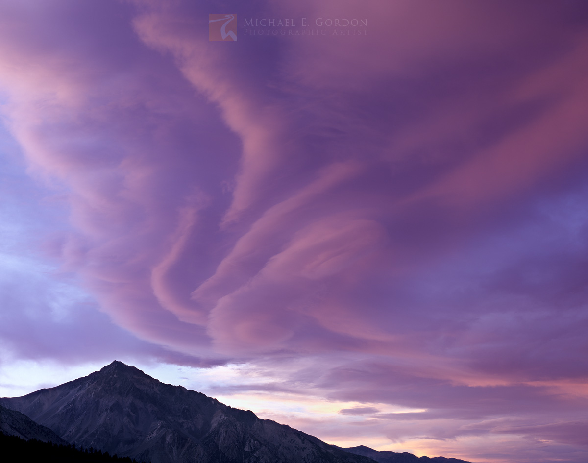 pastel, purple, Sierra Wave, Mount Tom, lee wave, cloud, lenticular, High Sierra, sunset, photo